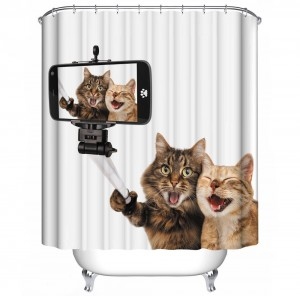 Cats Selfie Bath-Shower Curtain. Dubai, UAE