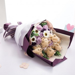 Soft Teddy Bears & Soap Flowers Bouquet