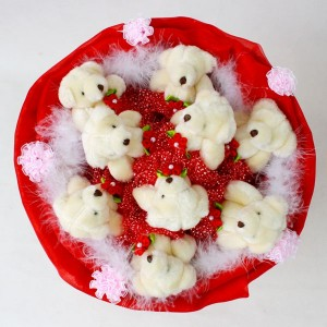 Tender Teddy Bear Bouquet. Red