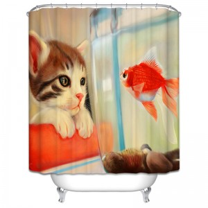 Cat & Gold Fish. Bath-Shower Curtain. Dubai, UAE