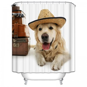 Dog On Holidays. Bath-Shower Curtain. Dubai, UAE