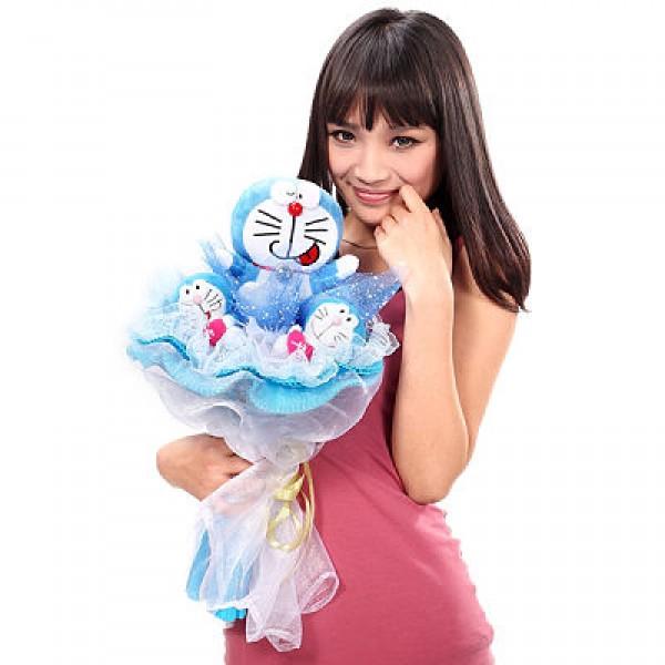 Girl Holding Doraemon Bouquet